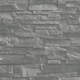 Rasch Factory 3  Behang 475029 Baksteen/3D/Stenen/Modern/Grijs