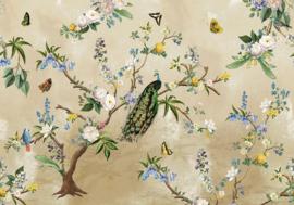 Behangexpresse Floral-Utopia Fotobehang INK7559 Secret Garden Sand/Botanisch/Pauw/Bloemen