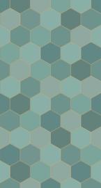 Esta Home Art Deco Fotobehang 158958 Hexagon Motief/Modern/Honingraat/Petrol/Zeegroen