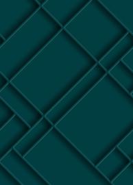 Esta Home Art Deco Fotobehang 158964 3D Wall paneling/Panelen/Modern/Diagonaal/petrolblauw