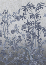 Hookedonwalls Daimon Wandpaneel Behang DAD23282 Garden of Daimon/Botanisch/Vogels/Blauw