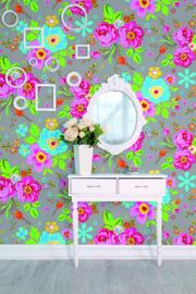 Behangexpresse Happy Living Fotobehang TD4030 Rosita Grey/Bloemen/a Spark of Happiness/Kinderkamer Behang
