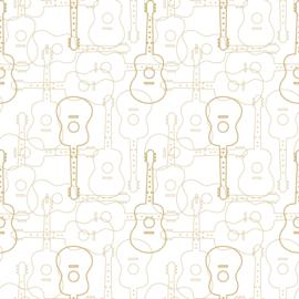 Noordwand #Hashtag Behang 11040 Muziek/Gitaren/Modern/Wit/Goud