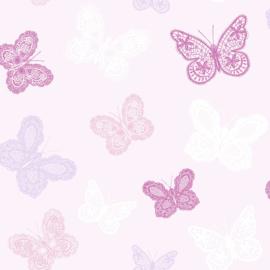 Noordwand KIds@Home Individual Behang 100114 Butterfly Pink/Vlinders/Roze/Kinderkamer