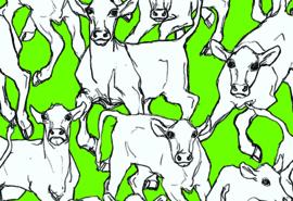 Hookedonwalls Marimekko Behang 14105 Iltavilli/Grafisch/Modern/Koeien/Dieren