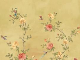 BN Wallcoverings/Voca Fiore Mural 200455 Rose Garden/Bloemen/Rozen/Vogels Fotobehang