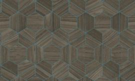 Arte Ligna Behang 42031 Hive/ Hexagon/Exclusief Wandbekleding saffier
