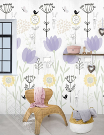 Behangexpresse Abby & Bryan Behang INK7250 Love my Garden Lilac/Kidswall/INGK Fotobehang