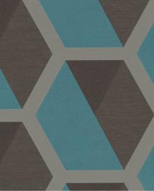 Eijffinger Charm Behang 331216 Grafisch/3D/Modern/Taupe/Blauw