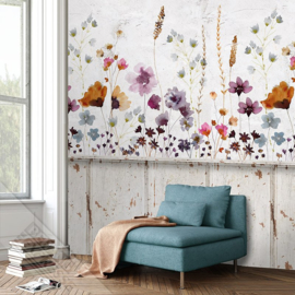 Behangexpresse Colorful Behang INK7289 Meadowfloral Lambri/Botanisch/Lambri/Natuurlijk Fotobehang