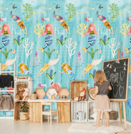 Behangexpresse Kate & Andy Fotobehang INK7458 Mermaids Play/Zeemeermin/Koraal/Kinderkamer Behang