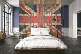 Noordwand Grunge Behang G45284 Union Jack/Engeland/UK/Vlag/Hout/Planken/Stoer/Tiener Fotobehang