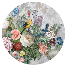 Behangexpresse Floral-Utopia Cirkel INK315 Abundance Light/Beton/Bloemen/Vogels