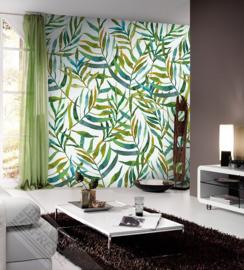 Behangexpresse Colorful Behang INK7301 Big Leaves white/Botanisch/Bladeren/Planten/Natuurlijk Fotobehang