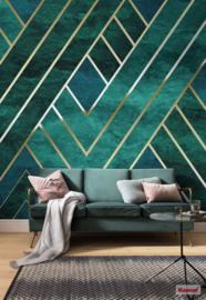 Komar Pure P014-VD3 ArtDeco/Modern/Grafisch/Goud Fotobehang Noordwand