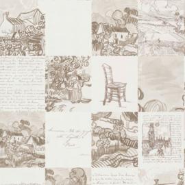 BN Wallcoverings van Gogh 2 Behang 220030 Schetsen en brieven/Tekst/Romantisch/Landelijk