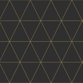 Origin Precious Behang 352-347684 Grafisch/Driehoeken/Landelijk/Modern/Zwart/Goud
