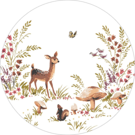 Esta Home Forest Friends Zelfklevende Behangcirkel/Circle 159074 Deer/Hert/Botanisch