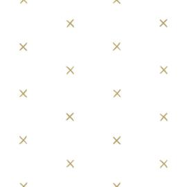 Esta Home Black & White Behang 155-139129 Kruissteek/Grafisch/Modern/Wit/Goud