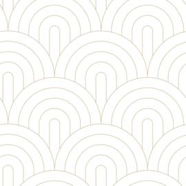 Esta Home Art Deco Behang 156-139215 Art deco Motief/Bogen/Modern/Wit/Goud