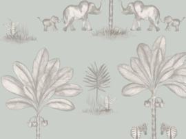 BN Wallcoverings Doodleedo Behang 220751 It Takes Two/Tropical/Dieren/Olifant/Palm/Kinderkamer