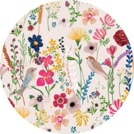 Behangexpresse Sofie & Junar Circle INK362 Tsjilp noon/Cirkel/Botanisch/Vogels/Bloemen