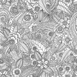 Esta Home Black & White Behang 155-139117 Bloemen/Pentekening/Modern/Retro/Zwart/Offwhite