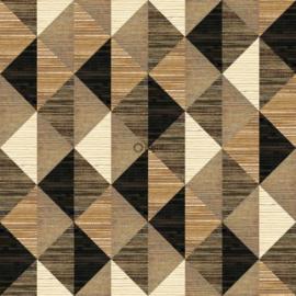 Origin Matieres Wood Behang 348-357216 XXL Grafisch/Grasweefsel look/ruit