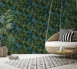 Dutch Wallcoverings/First Class Utopia Behang 91111 Anori Green/Botanisch/Bladeren