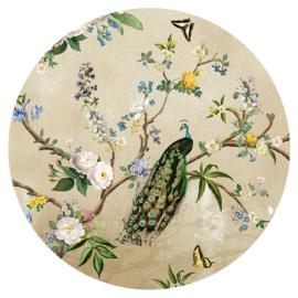 Behangexpresse Floral-Utopia Cirkel INK313 Secret Garden Sand/Pauw/Vogels/Bloemen