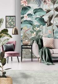 Behangexpresse Floral-Utopia Fotobehang INK7555 Magufuli Petrol/Bladeren//Bloemen