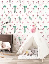 Kek Amsterdam Behangpaneel Flamingo 2d WP-122 Flamingo/Vogel/Dieren/Kinderkamer Fotobehang