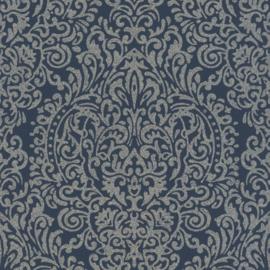 Rasch Amiata 296197 Barok/Ornament/Klassiek/Etnisch/Blauw/Zilver Behang