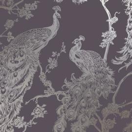 Dutch Wallcoverings Indulgence Behang 12961 Glistening Peacock Purple/Pauw/Vogels