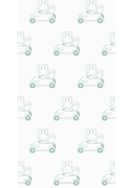 Kek Nijntje WP-514 Miffy Cars Green Behang - Dutch Wallcoverings/Kek Amsterdam