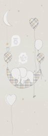 Behangexpresse Sofie & Junar Fotobehang INK7627 Elephant in the room Sand/Olifant/Maan/Tekst