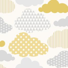 Noordwand Kids@Home Individual Behang 108267 Clouds Yellow Grey/Wolken/Kinderkamer