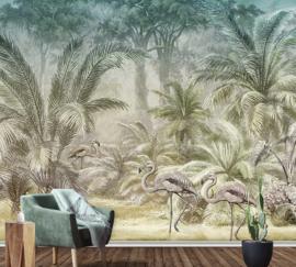 Behangexpresse Floral-Utopia Fotobehang INK7589 Pondicherry Evening/Flamingo/Palmbomen