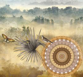 Behangexpresse Circle of Life/Select.D Fotobehang TD4153 Misty/Mandala/Vogels/Bomen/Mist