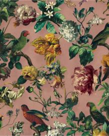 Eijffinger Museum Behang 307304 Botanisch/Bloemen/Bladeren/Vogels/Roze