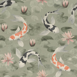 Rasch Kimono Behang 409437 Koi Karpers/Natuurlijk/Vissen/Dieren/Japan