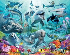 Walltastic 2020/Dutch Wallcoverings Fotobehang 46498 Under The Sea/Onderwaterwereld/Vissen/Dolfijnen/Kinderkamer Behang