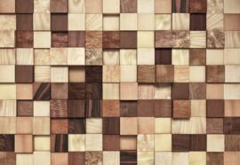Komar Stories 8-978 Lumbercheck/Hout/Modern/Blokken/Natuurlijk/3D Fotobehang - Noordwand