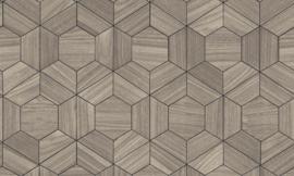 Arte Ligna Behang 42030 Hive/ Hexagon/Exclusief Wandbekleding Bruin