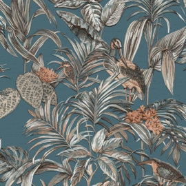 Dutch Wallcoverings Wallstitch Behang DE120016 Vogels/Botanisch/Bladeren/Blauw