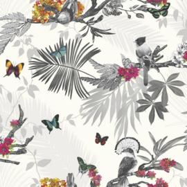 Arthouse Enchantment Behang 664802 Mystic Forest White/ Planten/Vogels