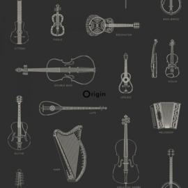 Origin Wunderkammer Behang  346-347450 Muziek Instrumenten/klassiek/zwart/offwhite