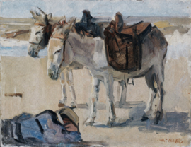 Painted Memories 2 Fotobehang 8050 Two Donkeys on the Beach/Ezels/Strand Dutch Wallcoverings