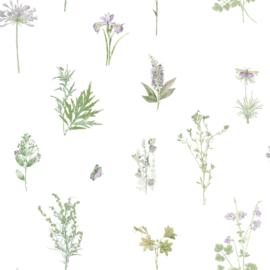 Noordwand Evergreen Behang 7342 Botanisch/Natuurlijk/Landelijk/Vlinder/Lila/Groen