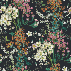Dutch Wallcoverings Kaleidoscope Behang 90572 Ayana Black/Botanisch/Bloemen/Planten